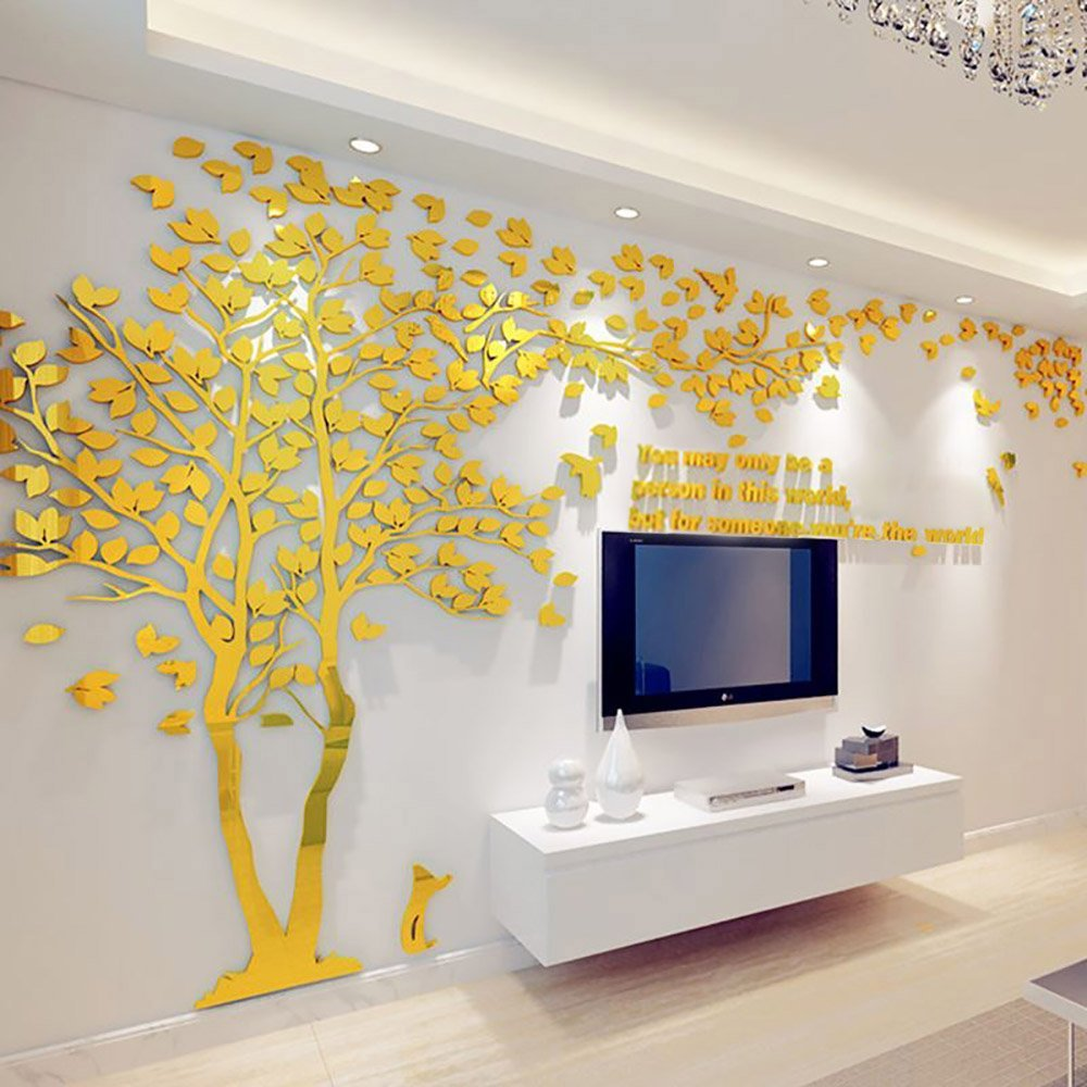 N.SunForest 3D Crystal Acrylic Couple Tree Wall Stickers Gold Self-Adhesive DIY Wall Murals Home Decor Art - X-Small